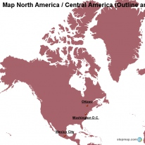 Map North America / Central America (Outline and Cities)