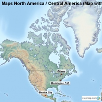 Maps North America / Central America (Map with Topography and Rivers)