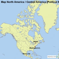 Map North America / Central America (Political Map with Waters)