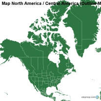 Map North America / Central America (Outline-Map with regional borders)