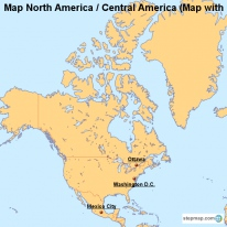Map North America / Central America (Map with Cities)