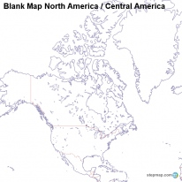 Blank Map North America / Central America