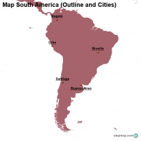 Map South America (Outline and Cities)