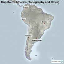 Map South America (Topography and Cities)