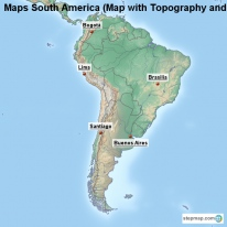 Maps South America (Map with Topography and Rivers)