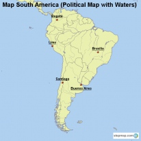 Map South America (Political Map with Waters)