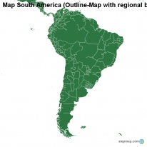 Map South America (Outline-Map with regional borders)