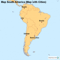 Map South America (Map with Cities)