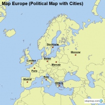 Map Europe (Political Map with Cities)