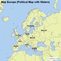 Map Europe (Political Map with Waters)