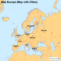 Map Europe (Map with Cities)