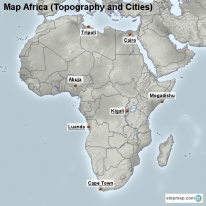 Map Africa (Topography and Cities)