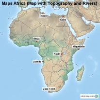 Maps Africa (Map with Topography and Rivers)