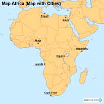 Map Africa (Map with Cities)