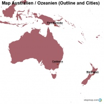 Map Australien / Ozeanien (Outline and Cities)
