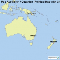 Map Australien / Ozeanien (Political Map with Cities)