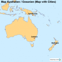 Map Australien / Ozeanien (Map with Cities)
