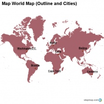 Map World Map (Outline and Cities)