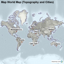 Map World Map (Topography and Cities)