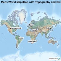 Maps World Map (Map with Topography and Rivers)