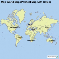 Map World Map (Political Map with Cities)