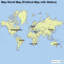Map World Map (Political Map with Waters)