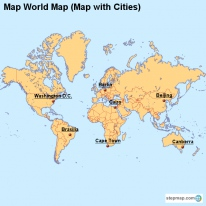 Map World Map (Map with Cities)