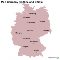 Map Germany (Outline and Cities)