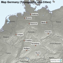 Map Germany (Topography and Cities)