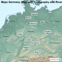 Maps Germany (Map with Topography and Rivers)