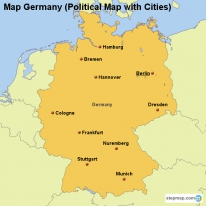 Map Germany (Political Map with Cities)