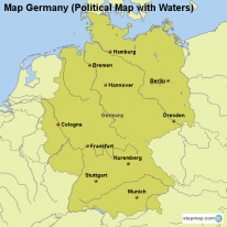 Map Germany (Political Map with Waters)