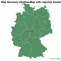 Map Germany (Outline-Map with regional borders)
