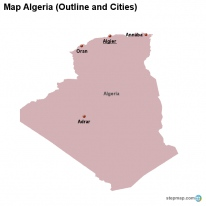 Map Algeria (Outline and Cities)