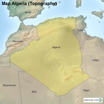 Map Algeria (Topography)