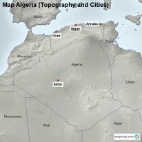 Map Algeria (Topography and Cities)