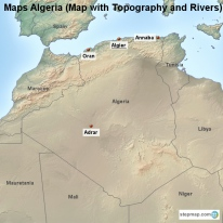 Maps Algeria (Map with Topography and Rivers)