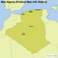 Map Algeria (Political Map with Waters)