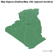 Map Algeria (Outline-Map with regional borders)