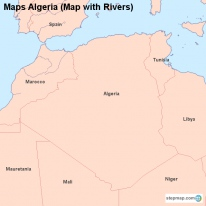 Maps Algeria (Map with Rivers)