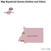 Map Equatorial Guinea (Outline and Cities)