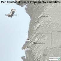 Map Equatorial Guinea (Topography and Cities)