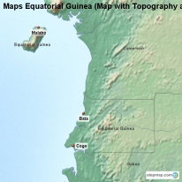 Maps Equatorial Guinea (Map with Topography and Rivers)