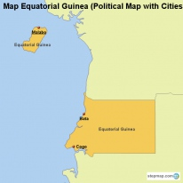 Map Equatorial Guinea (Political Map with Cities)