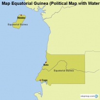 Map Equatorial Guinea (Political Map with Waters)