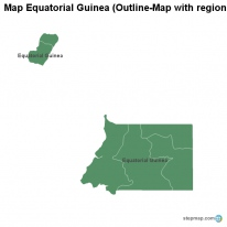 Map Equatorial Guinea (Outline-Map with regional borders)