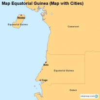 Map Equatorial Guinea (Map with Cities)
