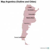 Map Argentina (Outline and Cities)