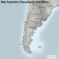 Map Argentina (Topography and Cities)