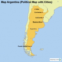 Map Argentina (Political Map with Cities)